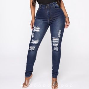 Distressed ladies jeans